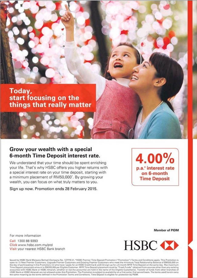 HSBC offers 4% p a  interest rate for 6 month Time Deposit